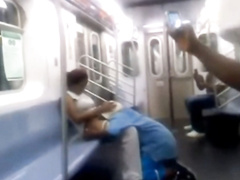 Dude eats out sexy black pussy on the train