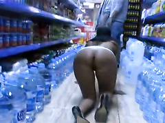 Flirty play and public nudity in grocery store