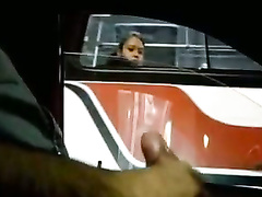 Girl on a bus sees him masturbating in the car