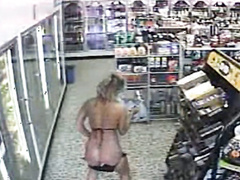 Bikini girl pisses on floor of convenience store