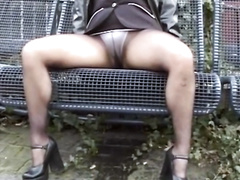 German blonde pisses her panties and pantyhose in public