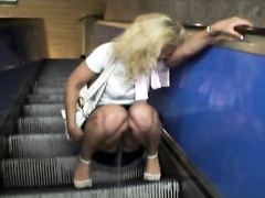 My friend pisses all over the escalator and laughs