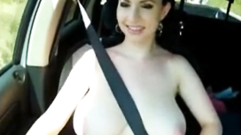 Natural cute girl jiggles tits