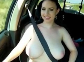 Hot girl driving with tits out, big big boob butt sand