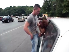 Public blowjob from a redhead in the car