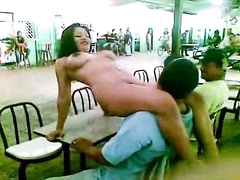 Lap dancing Latina chick at the cafeteria