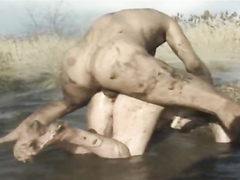 Muddy sex from behind with a moaning dirty whore