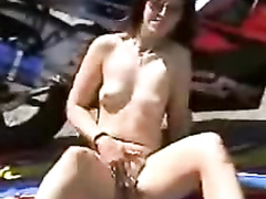 My lady in leather boots takes my penis outdoors