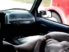 Trucker watches wife fuck big dildo in the car