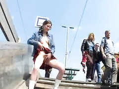 Czech model pissing at public train station