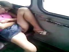 Sleeping Russian chick exposes her fur pie on the train