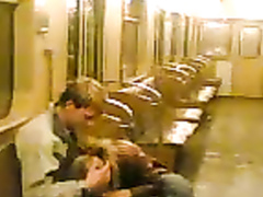 Blowjob in the subway from a sweet Russian girl