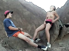 Hiking couple stops to masturbate with each other