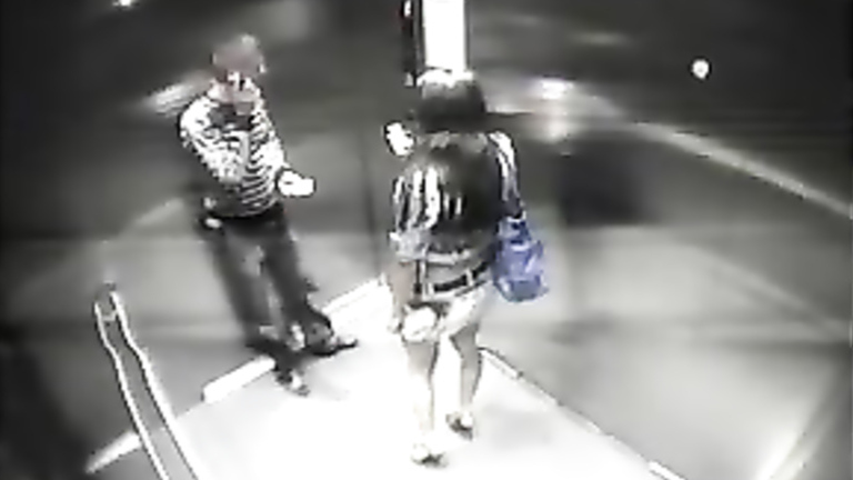 Security camera caught lovers in the elevator