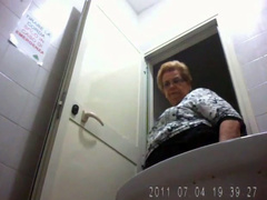 Mature fatty in huge panties pisses in public restroom