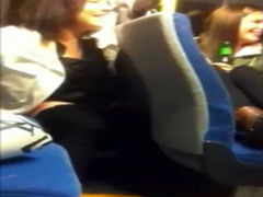 Naughty girl pees in the back of the bus as her friend films