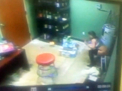 College girl caught peeing and stealing by security camera