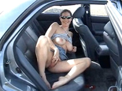 Big titty girlfriend masturbates lustily in the car