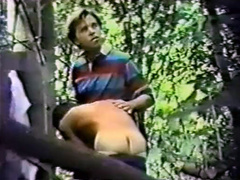 Vintage gay voyeur video with outdoor cocksucking