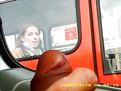 Russian girl on the bus stares at him masturbating lustily