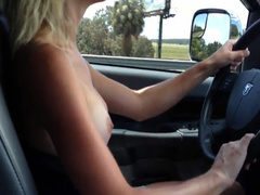 Girlfriend drives down the highway topless