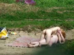 Skinny nudist girl penetrated by chubby boyfriend