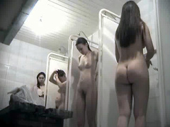 Beautiful young bodies in hidden camera shower video