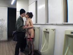 Naked Japanese girl fondled in men's toilet
