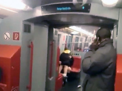 Young couple filmed fucking on the train