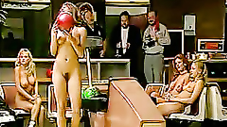 Girl naked in the bowling alley