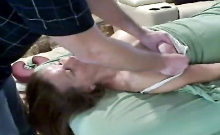 Sensual massage for a spouse in a bra