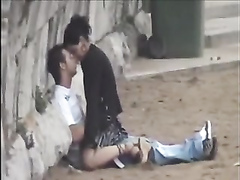 Horny students caught banging outdoors