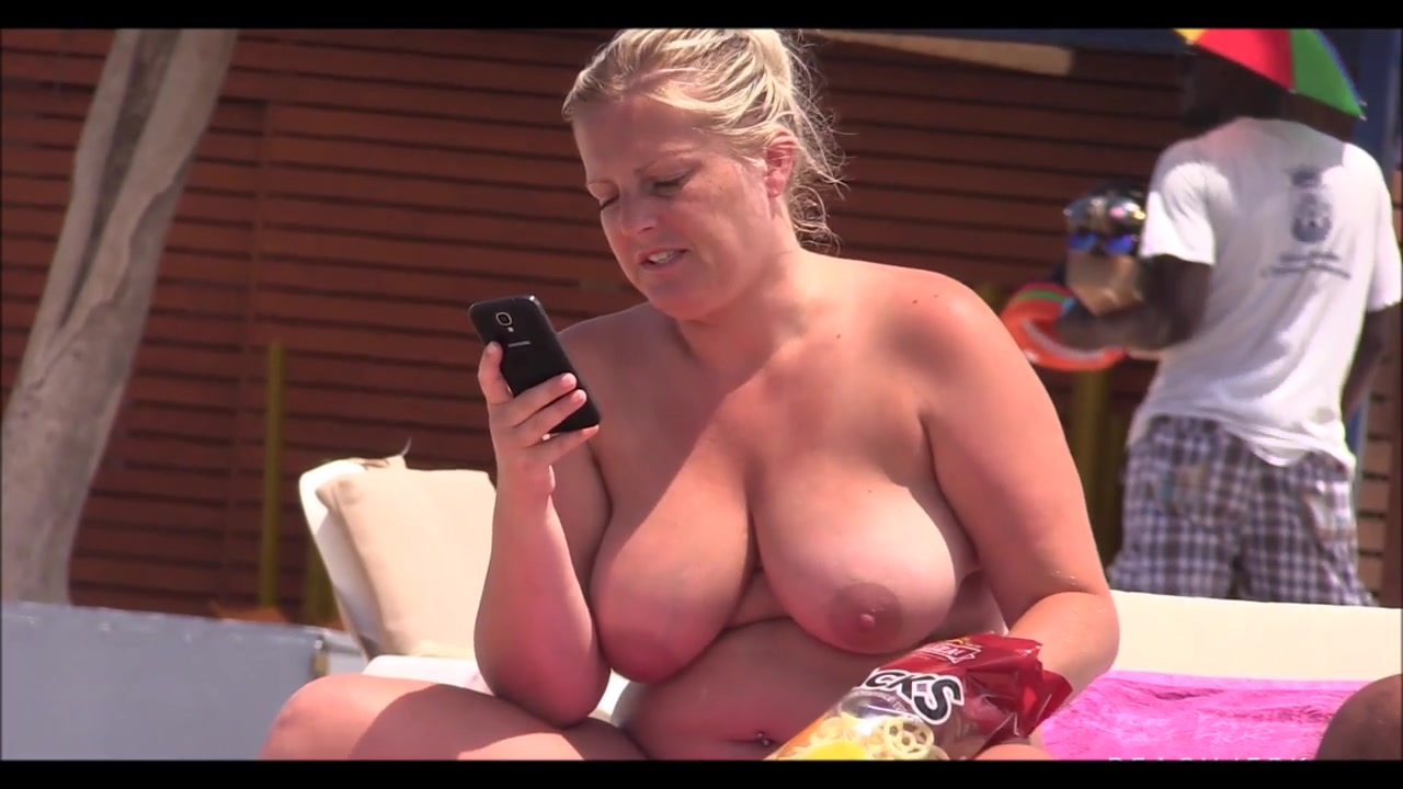 beach chubby pussy - ... Chubby MILF with massive natural tits sunbathes at the beach