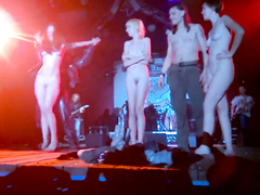 Enthralling maids go completely naked on the stage
