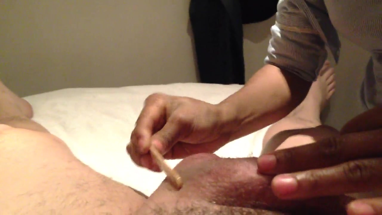 Removing the hair from the erected sausage