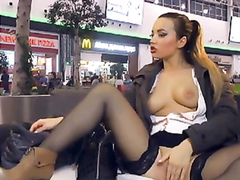 Unforgettable webcam session at the shopping mall