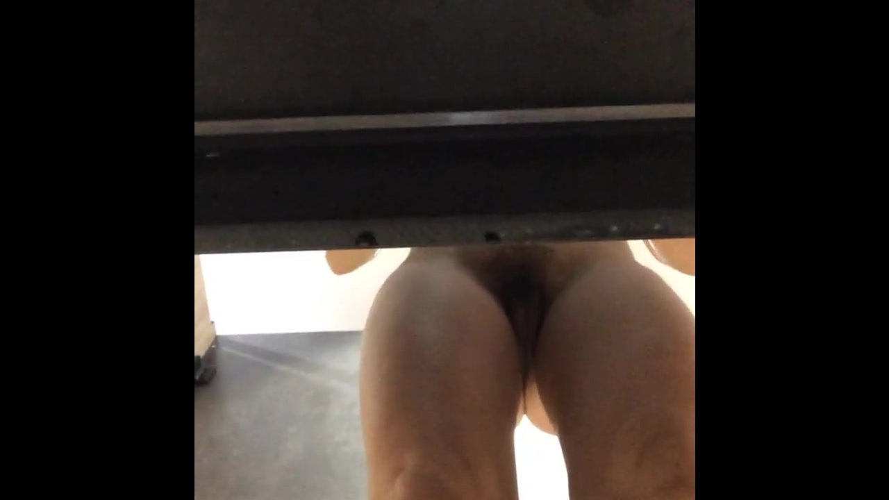 Spying on her hairy pubic area
