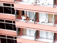 Hardcore sex on the balcony