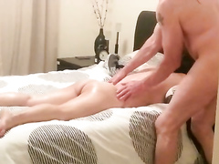 Adorable wife has her wet hole used by her masseur
