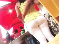 Chubby GF wears white pants that are almost see-through