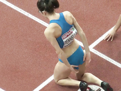 Ravishing Italian sportswoman runs on the athletic track