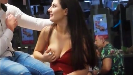 Delicious hoochie shows off her large jugs to a sexually aroused friend