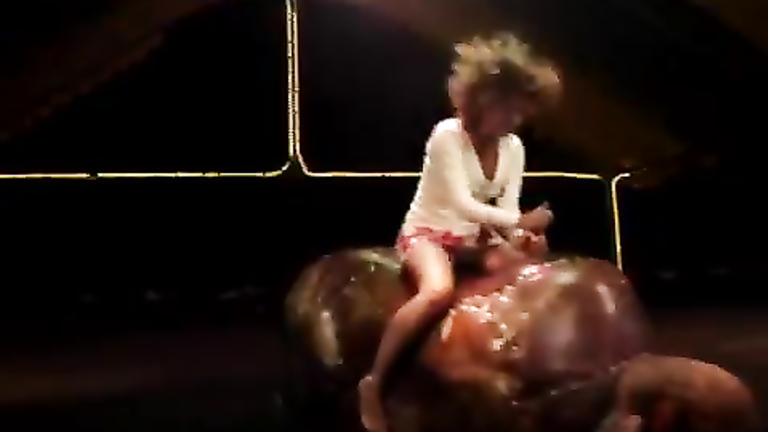 Fascinating babe in a long bull ride