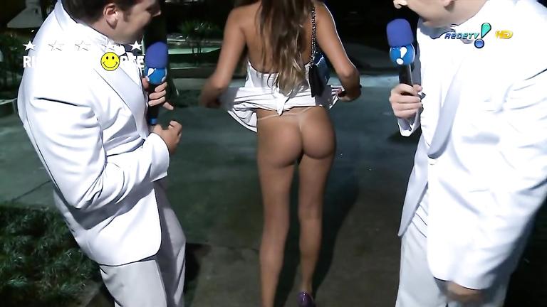 Tempting senorita decides to reveal her breathtaking ass on TV