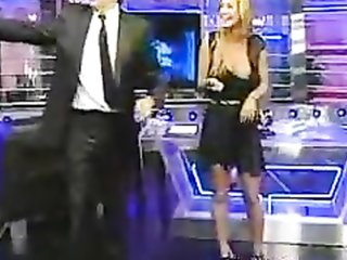 Magnificent blonde unintentionally exposes her breast on TV