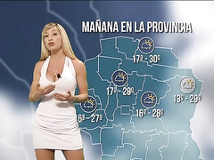 Curvaceous Spanish lady delivers weather forecast in a tight dress