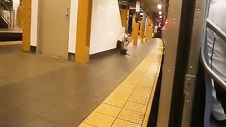 Sleepy damsel makes a giant puddle in the subway