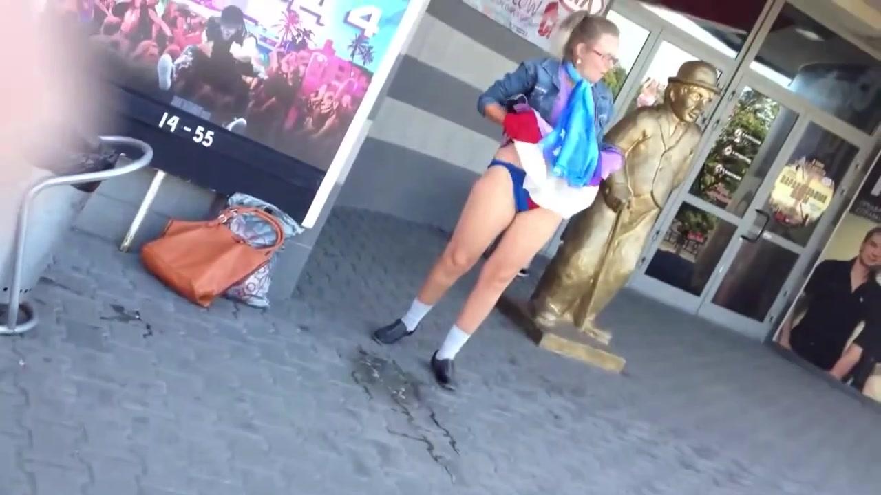 Nasty old woman takes a public leak