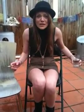 Hot brunette accidentally pees her undies on camera