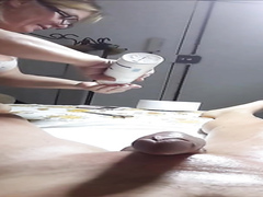 Experienced woman shaves the erected penis